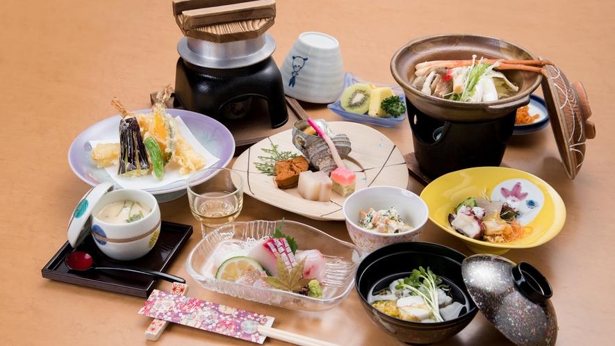 *【夕食一例】新鮮な山海の幸が自慢のふるさと料理をご堪能下さい。