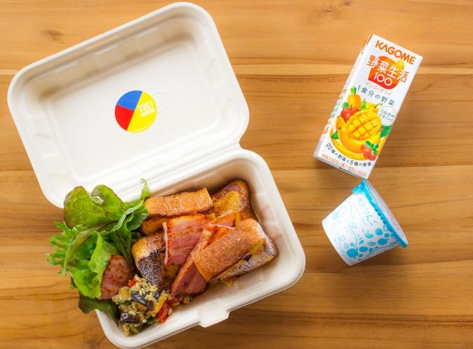 配達用の朝食の一例、フレンチトースト(コロナ感染防止のため休止する場合があります。)