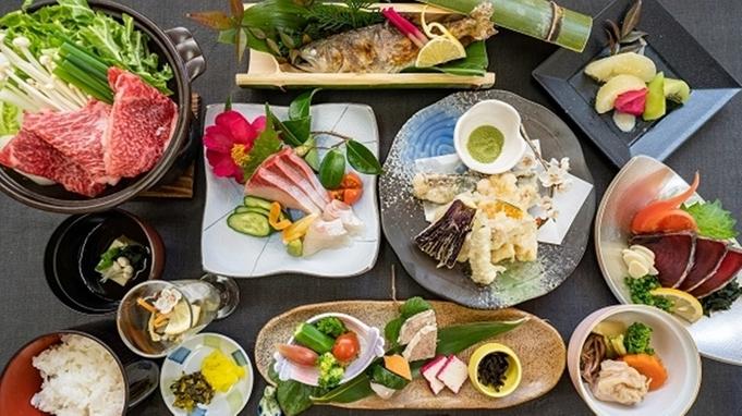 【山里の膳】イノシシ鍋と山菜の天ぷら、山の幸を味わうグレードアッププラン