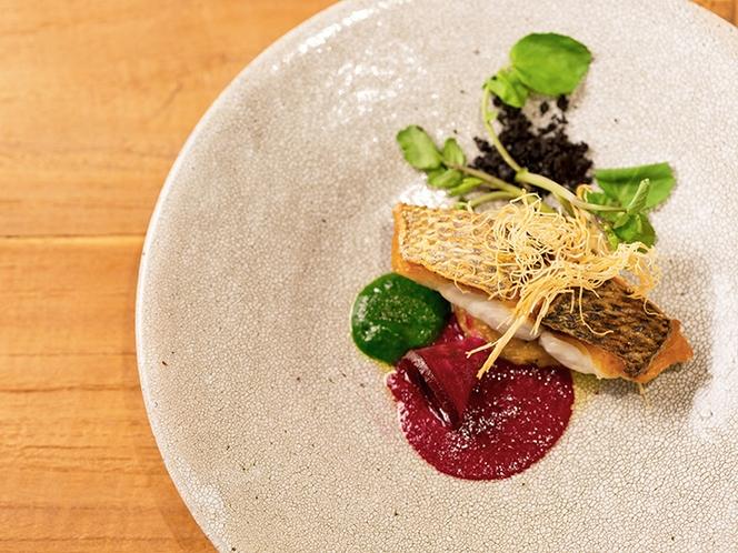 ディナー県産鮮魚料理一例