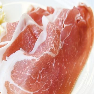 【肉】満腹プラン 夕食献立に黒毛和牛陶板焼き・生ハムをセットで追加