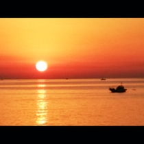 黒石海岸の美しい夕陽