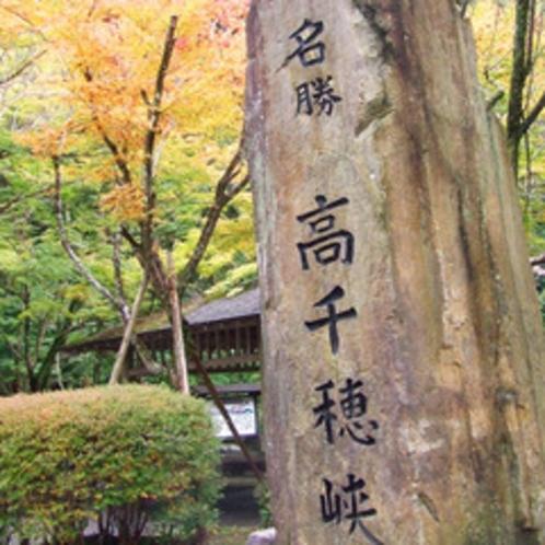 *<高千穂峡遊歩道:ゆっくり歩いて30分>木々が色づく秋は観光客でにぎわう。