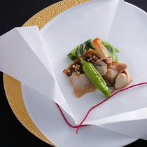 2019夏メニュー【魚料理】穴子・大浅利・鮑の信州甘味噌