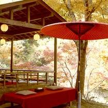 【初秋(6/1~9/30期間限定)】川床からは美しい紅葉がお楽しみいただけます。