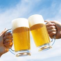 大自然の中で飲むビールは格別です!