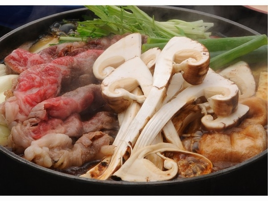 【旬の松茸+選べるお肉+松茸狩りの入山付】 松茸すき鍋コース ☆