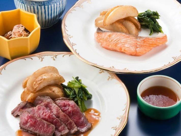 和食レストラン「羽衣」の鉄板焼定食(朝食)