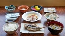 *朝食一例/あじの干物やひじきなど、西伊豆ならではのご朝食をご用意いたします。