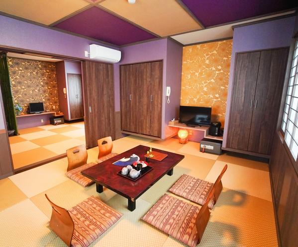 モダン和室 デラックスルーム 4名〜8名様のお部屋になります。目の前は海の景色。