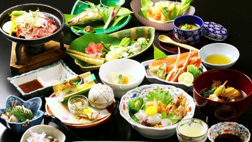 春料理の一例。春のおもてなしは、山菜を中心とした山の恵料理。