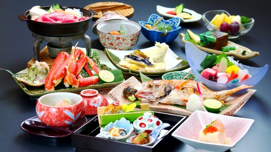 【のどぐろ塩焼き+蟹コース】日本海の二大看板、高級魚のどぐろとズワイガニを贅沢に。※写真は一例です