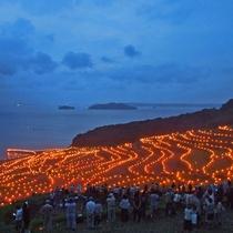 【土谷棚田の火祭り】毎年9月に行われており、幻想的な風景に多くの方が訪れます。