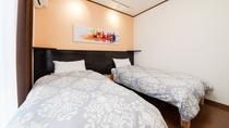 *新装2号棟【西華】1階/新しいツインルームでゆっくりお休みください。