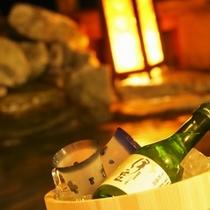 お風呂に桶を浮かべて日本酒!