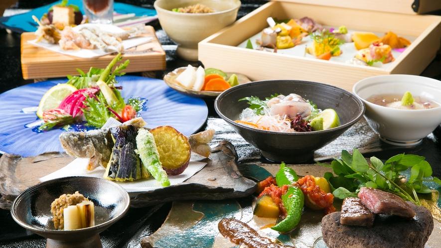 こだわりの食材を個性豊かな器が鮮やかに彩る創作会席