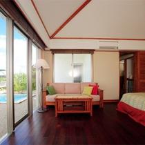 *【月桃】セミダブルベッドが2台、眺望抜群のゆったりとした広さのツインルームです。