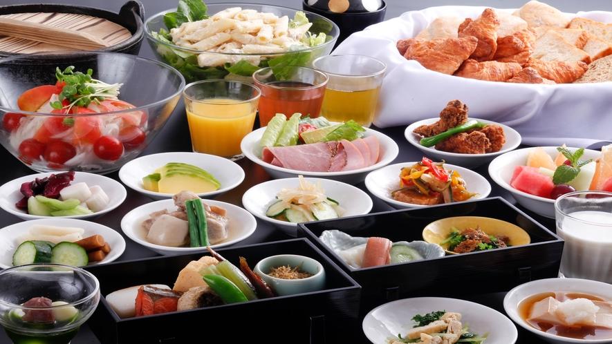 【朝食】和食のセットメニュー+バイキングイメージ。和食は京揚げの味噌汁・炊き立てご飯付です。