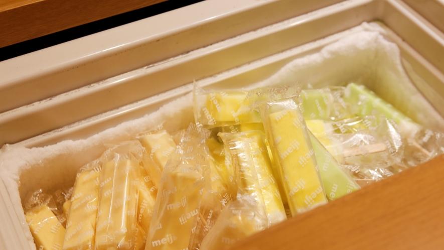 【無料サービス】湯上り処では、夜はアイスキャンデー・朝は乳酸菌飲料で涼をとっていただけます。