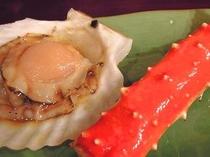 焼き物タラバ蟹と帆立貝