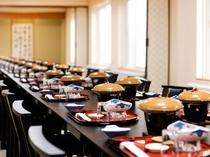 【宴会場】皆様でお楽しみいただける、心を込めたお料理でおもてなしさせていただきます。