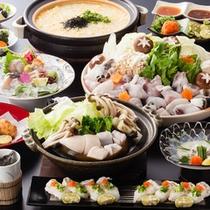 【特選】淡路島3年とらふぐづくしコース(てっちり、蒸気蒸し、握り寿司、雑炊は4名盛り)