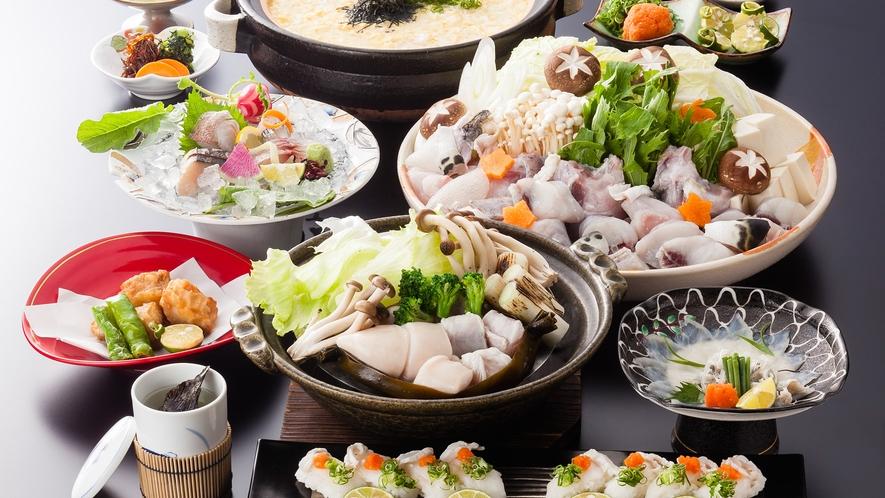 淡路島3年とらふぐづくしコース(てっちり、蒸気蒸し、握り寿司、雑炊は4名盛り)≪料理イメージ≫