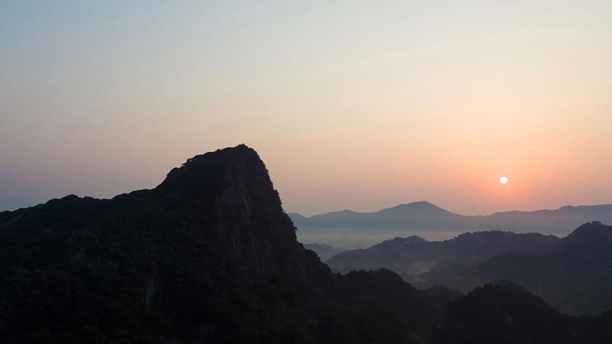 御船山楽園空撮夕日