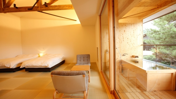 YAMAGATA06 檜露天風呂付 和洋室ツイン(44平米)