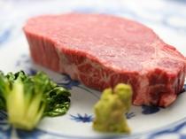 【夕食例】地元ブランド牛のステーキ例※ご希望の場合はお問合せ下さい