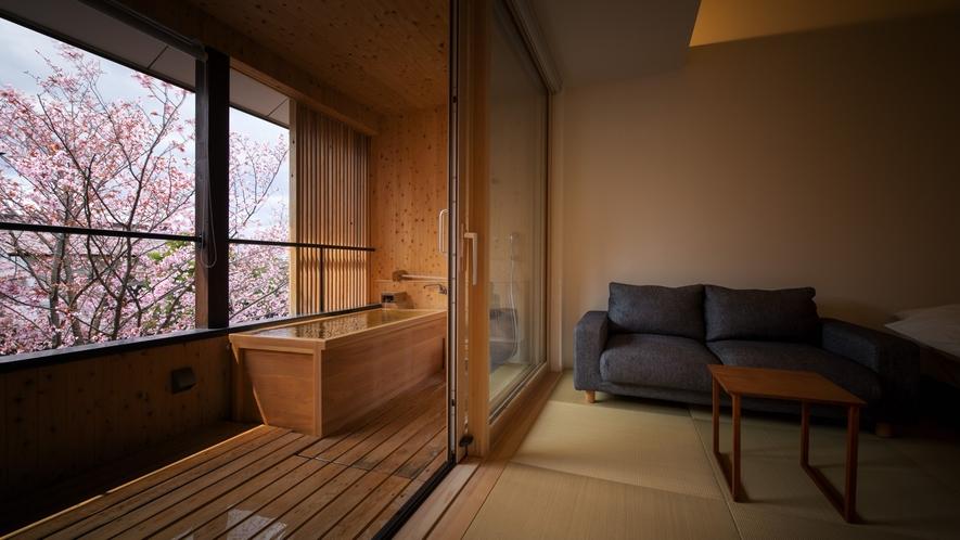 【SAKURA06】桜が植えられた日本庭園を眺める「SAKURA」で最も眺めのよい客室