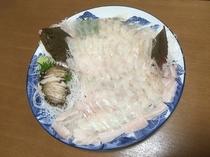別注料理(あわび・ひらめのお刺身)