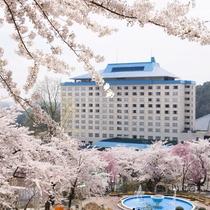 ホテル千秋閣 春の外観