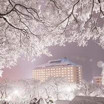 ホテル千秋閣 冬の外観