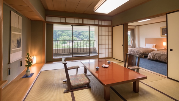【禁煙】和洋室|12畳+ツイン(120cmセミダブルベッド)