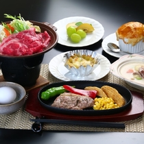 夕食(洋食 ) ~しゃぶしゃぶ&ステーキ~ 全体の一例
