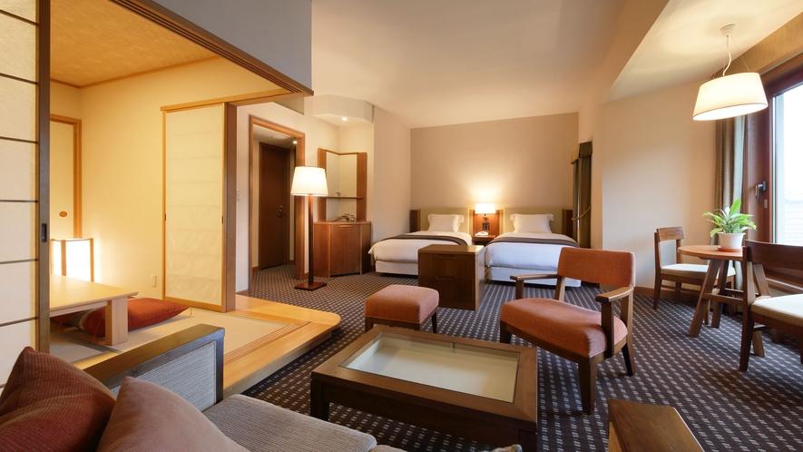 【ファミリールーム/別館】2ベッド+6畳和室の和洋室 ■53㎡ 最大6名