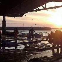 夕暮れ時の豊浜漁港