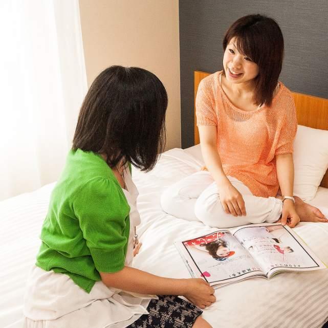女子旅には広々ツインルームがおすすめ♪