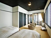 ◆【テラスヴィラ棟】ローベッド12帖のモダン和室/半露天付き