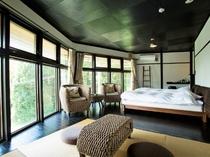 ◆【ドームハウス棟】ローベッド14帖の和洋室/貸切風呂付き