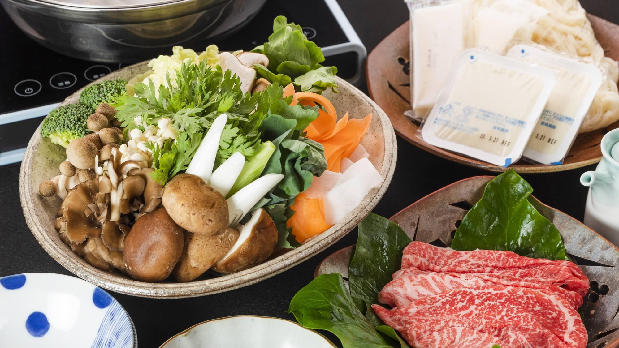 ・2020_夕食+旬のお野菜と島根和牛しゃぶしゃぶ鍋(写真2人前)+3300円