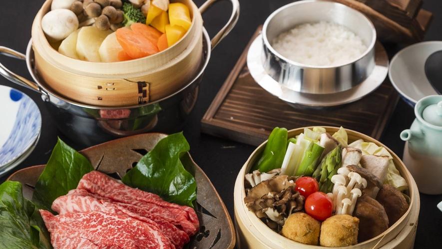 ・夕食+旬のお野菜と島根和牛蒸し(写真2人前)+3300円(税込み)