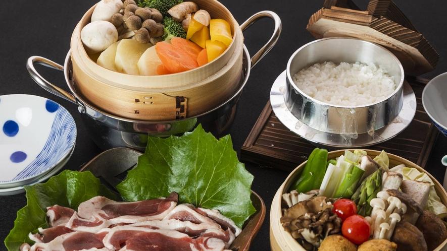 ・夕食+旬のお野菜と鴨肉蒸し(写真2人前)+2800円(税込み)