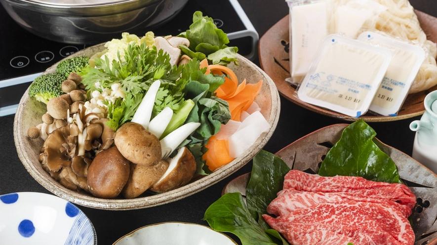 ・2020_夕食+旬のお野菜と島根和牛しゃぶしゃぶ鍋(写真2人前)+3300円(税込み)