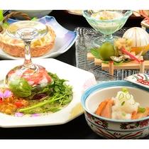 蛸と海老のサラダ彩りジュレ・川俣シャモみぞれ煮(2017年6月~8月)