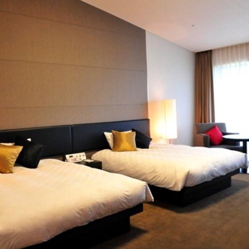 お部屋 40.5㎡の広々とした部屋にシモンズ社製幅1,400mのベッドで心地よい眠りを。