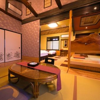 【繊月】ダブルベッド2台+和室の和洋室(内湯付)【喫煙】