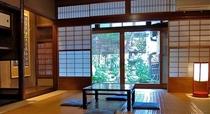 庵 筋屋町 1F和室。お座敷から、お庭を眺める時間。しっとりした時間を楽しんでいただきます。