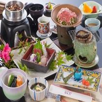 【四季旬彩会席】鮑踊り焼き付きと松阪牛陶板焼きプラン